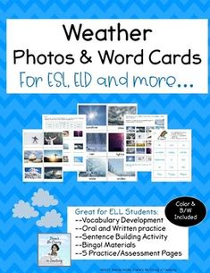 This Weather photo and word card set includes:18 colorful weather photo cards with labels12 singular and plural noun photo cards (rain, snow, blizzard, wind...)6 adjective photo cards (stormy, foggy, rainy...)18 colorful weather photo cards without labels great for partner game of Concentration18 we... Weather Vocabulary, Science Vocabulary, Teaching Science, Teaching Ideas, Picture Cards, Photo Cards, Weather Lessons, Singular And Plural Nouns, Sentence Building
