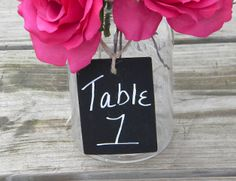 Wood Chalkboard Tags Table Numbers Rustic Wedding Chic by BriannaPaigeDesigns