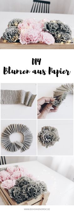 DIY Blumen aus Krepppapier Boho and Nordic DIY Interior Internet-Tagebuch . Crepe Paper Flowers, Diy Flowers, Flower From Paper, Flower Ideas, Potted Flowers, Origami Flowers, Wedding Flowers, Diy And Crafts, Arts And Crafts