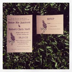 Pine Wedding Invitation with envelopes by Rusticpapers on Etsy