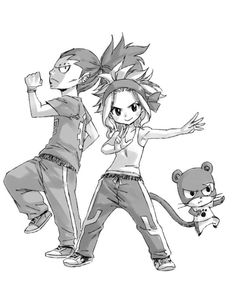 I little drawing by Hiro Mashima with Gajeel, Levi and Lily