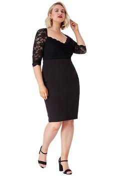 ba4a977bce0 Černé pouzdrové šaty s krajkou City Goddess Nella