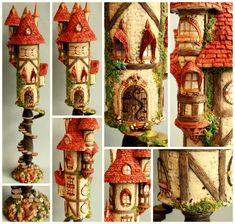 autumn fantasy castle -made from a candle stick, a pringles can, some air dry clay and acrylic paints. Clay Projects, Clay Crafts, Arts And Crafts, Polymer Clay Fairy, Polymer Clay Creations, Clay Fairy House, Fairy Houses, Pringles Can, Clay Fairies