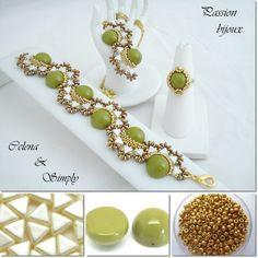 Pendentif, bracelet CELENA en Pea Green & Bague Simply