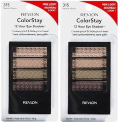 Revlon Colorstay 12 Hour Eye Shadow Quad 315 NEUTRAL KHAKIS PACK OF 2 ** For more information, visit image link.
