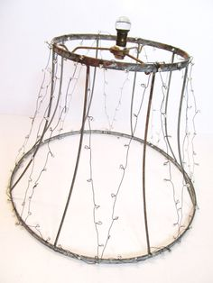 Vintage Lampshade Frame Wrapped in Transparent Silver-Lined Seed Beads on Wire