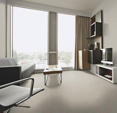 Discover how subtle Marmoleum can be with this range of uni linoleum floor designs with a twist of colour. Perfectly adapted for modern environments. Linoleum Flooring, Vinyl Flooring, Vinyl Floor Covering, Modern Lodge, Floor Finishes, Floor Design, Concrete, New Homes, Home Decor
