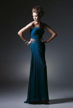 Sheath Strapless Ruched Bodice Beaded Chiffon Evening Dress-soe0009,  $178.95