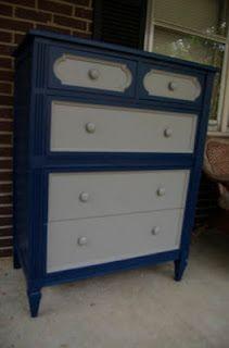 Custom navy and gray dresser from Hazelnuts