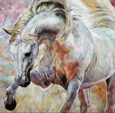 Andalusian Dressage Horse   Andalusisches Dressurpferd  Jana Fox & Oleg Dyck [J&O Art Studio Cologne]  28 '' x 28 '' / 70 x 70 cm Alkyd, Acrylic, Oil on canvas   Alkyd, Acryl, Öl auf Leinwand  2013