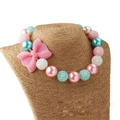 New Bow Jewelry Chunky Beads Necklace Little Girl Baby Kids Princess Bubblegum Necklace For Party Dress Up Birthday Gifts