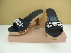 MIU MIU Crystal & Ribbon Wooden-Heeled Suede Leather Sandals NIB #MIUMIU #OpenToe