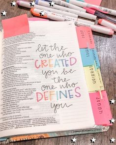 Let the One who created you be the one who defines you. Bible Drawing, Bible Doodling, Bible Verses Quotes, Bible Scriptures, Tittle Ideas, Bibel Journal, Bible Study Journal, Bible Bullet Journaling, Scripture Journal