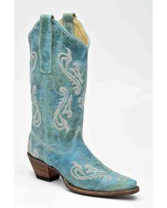 Corral Boots Women's Turquoise Cortez/Cream Fleur de Lis Boot - R1973