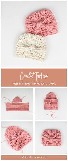 Crochet Baby Cap, Crochet Headband Free, Crochet Turban, Crochet Baby Jacket, Crochet Baby Hat Patterns, Baby Cardigan Knitting Pattern, Baby Afghan Crochet, Crochet Baby Clothes, Cute Crochet