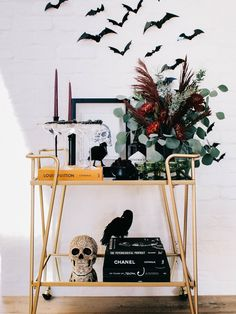 Bar Cart Styling - The Halloween Edition - Andee Layne Chic Halloween, Halloween Fashion, Halloween Boo, Happy Halloween, Small Kids Table, Thanksgiving Tablescapes, Thanksgiving 2020, Gold Candle Holders, Outdoor Dinner Parties