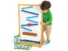 Engineer-A-Coaster Activity Kit at Lakeshore Learning ($49.99 for set; $79.99 for magnetic stand-up station) This STEM kit is great for building cognitive skills in the Discovery Area. While Lakeshore sells a sturdy magnetic stand, it can also be used on and metal surface, such as an easel or chalkboard.