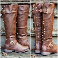 RESTOCKED! DON'T WAIT - THE PERFECT FALL BROWN RIDING BOOTS! Land Explorer Brown Studded Zipper Boots | Amazing Lace