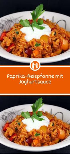 Bell pepper rice pan with yoghurt sauce Sprainnews- Paprika-Reispfanne mit Joghurtsauce Salad Recipes For Parties, Salad Recipes Healthy Lunch, Vegetarian Salad Recipes, Salad Recipes For Dinner, Potluck Recipes, Chicken Salad Recipes, Easy Salads, Menu Dieta, Greens Recipe