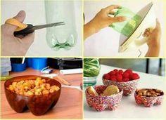 Use 2litre bottles to make bowls