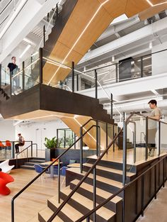 Office Tour: Trend Micro Offices – Austin Office stairs from Trend Micro Offices – Austin Open Staircase, Staircase Design, Stairs Architecture, Interior Architecture, Victorian Architecture, Interior Design, Modern Interior, Linear Light Fixture, Commercial Stairs