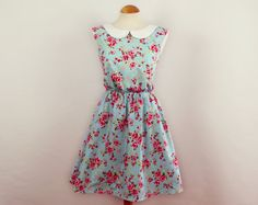 Floral dress peter pan collar dress summer dress by luminia
