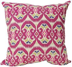 Aztec Ikat Pillow - Ikat Throw Pillows Infuse Your Decorating Concept With Life - Add Comfort And Stay On Trend With Our Aztec Ikat Pillow. Rendered In Ikat Style, The Pattern Of Scalloped Shapes Offers World-Beat Style For Your Sofa, Bed Or Accent Chair. Try An Array Of Different Ikat Pillows In The Same Color To Create A Dynamic Look. Self Backed. Polyester Fill. Made In India.