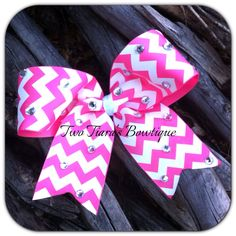 Pink and White Chevron Cheer Bow Pink Out for Cheer squads! Team discounts always given! By Two Tiara's Bowtique on Etsy or Facebook group