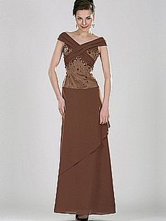 Off the Shoulder Taffeta and Chiffon Ankle Length Mother of the Bride Dress - USD $118.86