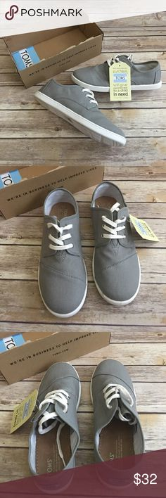 Toms Paseo Ash Canvas Lace Slip On Shoes Size 6Y Description A signature tuck-stitched toe box defines a sporty contrast-sole sneaker shaped from classic canvas.  Easy on and off with three eyelets Latex arch insert for added support Specifications  GenderKids Size6 US Big Kid ColorGray Toms Shoes Sneakers