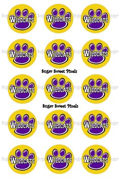 INSTANT DOWNLOAD Purple Gold Wildcats  Paw Print by sugarnspicebow