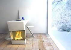 Modern Minimalist Kitchen Table with Fireplaces Combination, Warmpath by Michael Harboun - Home Design Inspiration