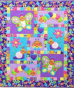 BUGSY Quilt Pattern ~ Adorable Appliqué & Pieced Quilt Sewing Pattern ~ Cot/Crib Quilt ~ Butterfly, Caterpillar, Snail ~ Kids Quilts Design