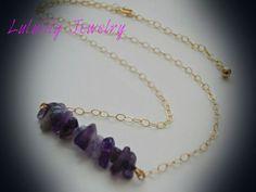 Amethyst Necklace. February Birthstone 16 inch by LuluLilyJewelry