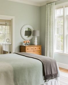 """Check my other """"home decor ideas"""" videos sage green bedroom, green bedroom curtains Bedroom Paint Colors, Bedroom Makeover, Home Bedroom, Green Rooms, Green Bedroom Walls, Guest Bedroom, Bedroom Color Schemes, Mint Green Bedroom, Sage Green Bedroom"""