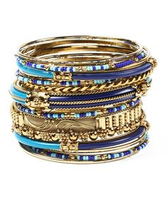 Take a look at the Gold & Blue Monaco Bangle Set on #zulily today!
