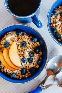 A simple, fresh camping breakfast idea: Yogurt Bowl with Toasted Oats, Peaches, and Blueberries