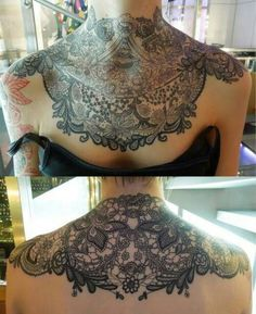 Lace neck chest shoulder tattoo