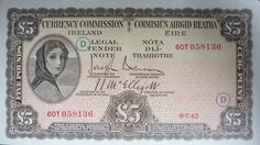 1942 Currency Commission of Ireland £5 with War Code D in green ink