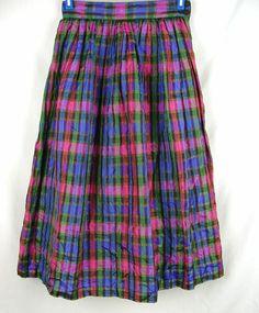 Susan Bristol Petites Plaid Skirt Size 6 Pink Green Blue Purple 100% Silk Vtg #SusanBristol #FullSkirt