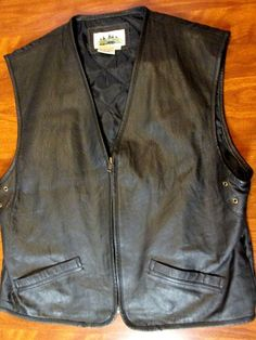 Men's Timber Trail Vest  2 pocket zip up  leather front size M #TimberTrail