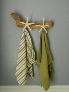 Drift Wood and Finger Starfish Wall Hanger by CourtsCoastalCharm, $25.00