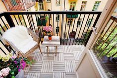 You can hide an unattractive balcony floor using interlocking deck tiles. It's a rental-friendly flooring solution that's easy to install and a cinch to disassemble. and Garden Designs Apartment Balcony Ideas Ideas to Conceal a Concrete Slab Small Balcony Design, Small Balcony Decor, Tiny Balcony, Balcony Garden, Small Balconies, Small Terrace, Garden Floor, Small Balcony Furniture, Tiny Furniture