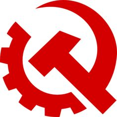 The communist symbol of the hammer and sickle is known worldwide, drawing its origin in Russian after the 1917 revolution. But here the Communist Party of the U.S. has redesigned it for the sake of modernity, featuring a gear representing industry.    http://24.media.tumblr.com/tumblr_m02q4irST31r9edavo1_400.png