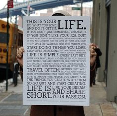 This is your life...read it!