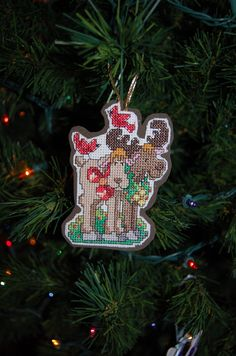 Christmas Moose Cross Stitch Ornament by CraftsForKids on Etsy