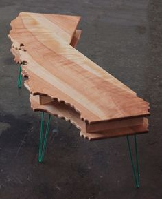 California Coffee Table and Bench // Double Decker w/ Hairpin Legs // Birch Walnut or Sun Tanned Poplar so cool