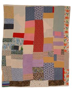 Strip Quilt, by Susana Allen Hunter - Strip pieced quilt made of cotton prints and solids, flannel with a pieced muslin backing. The filling is a reused quilt or bedcover. Strip Quilts, Scrappy Quilts, Quilt Blocks, Quilting, Antique Quilts, Vintage Quilts, Vintage Fabrics, Textiles, Gees Bend Quilts