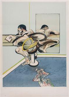 Homme ecrivant reflete dans un miroir By Francis Bacon ,1977
