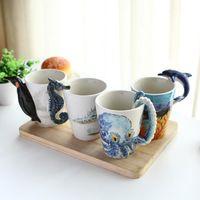 Creative Hand Painted 3D Stereoscopic Marine Organisms Pottery Ceramic Copa Mug Tea Coffee Milk Cup With Originality